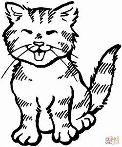 Kitten Meowing Coloring Page