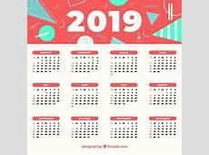 Calendario abstracto de 2019 Descargar Vectores gratis