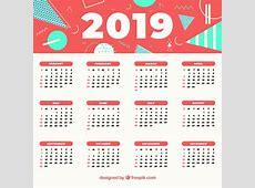 2019 calendário abstrato Baixar vetores grátis