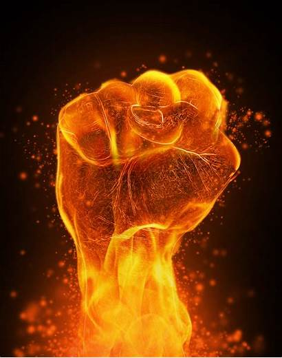 Powerful Supporting Education Fist Clenched Fire
