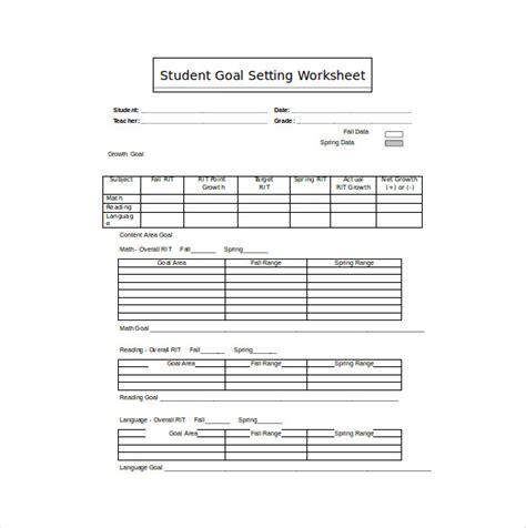 goal sheet template    documents