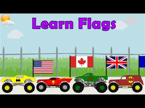 monster truck music videos monster truck videos learn country flags for kids