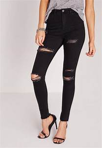 Sinner High Waisted Ripped Skinny Jeans Black | Missguided
