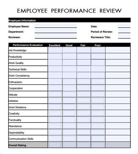 employee evaluation form  employee evaluation form
