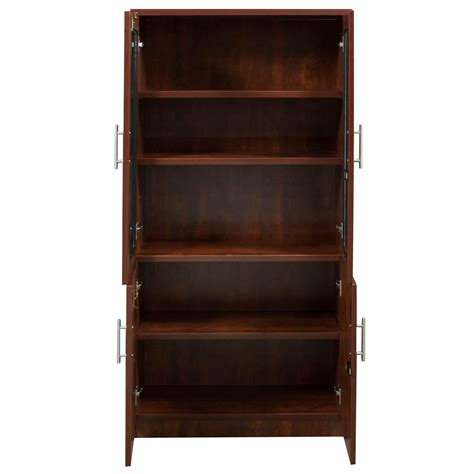 cherry bookcase with doors everyday 65 in laminate bookcase with glass doors cherry