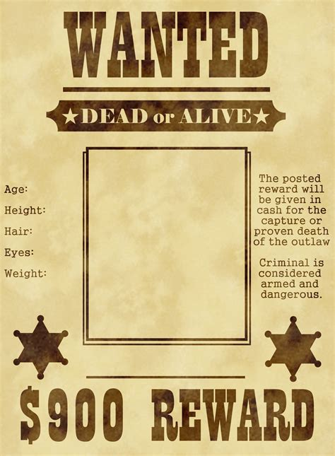 Wanted Poster Template by K-C-Lexa on DeviantArt