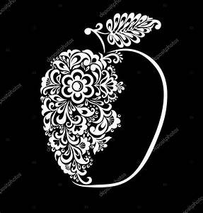 beautiful monochrome black and white apple decorated with ...