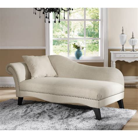 chaise beige phoebe beige linen modern chaise lounge see white