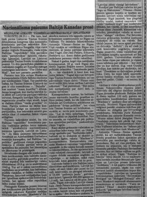 Nacionālisma paisums Baltijā Kanādas presē - Barikadopēdija