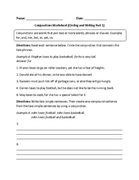 englishlinx conjunctions worksheets englishlinx