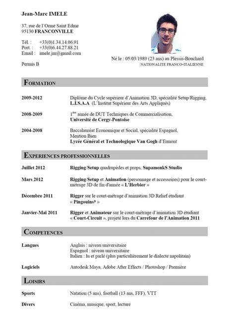 De Cv Professionnel En Francais by Francais Curriculum Vitae Template Ossaba Faire Cv En