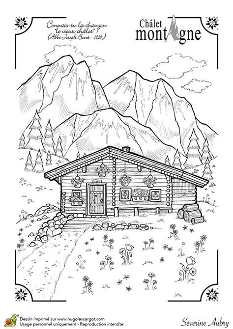 dessin d un beau chalet d hiver dans la montagne
