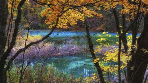 blue lake goshikinuma fukushima japan autumn scenery