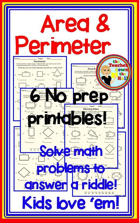 area and perimeter 6 no prep worksheets w riddles