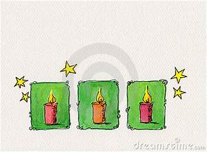 Christmas Candles Watercolor Painting Stock Image