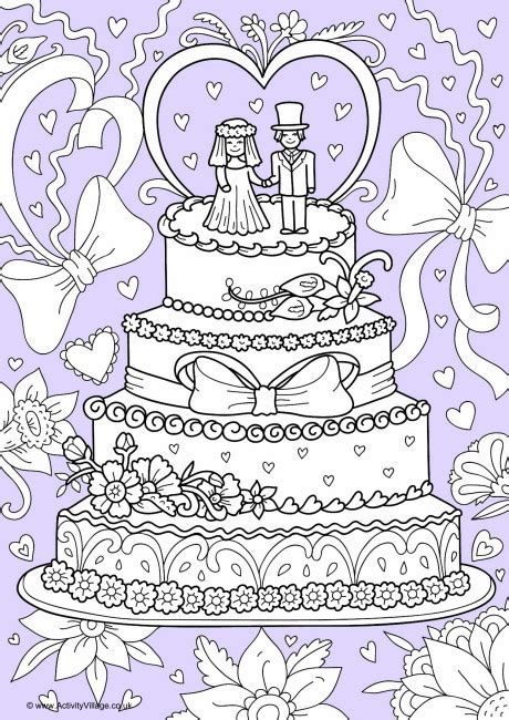 wedding cake colour pop colouring page