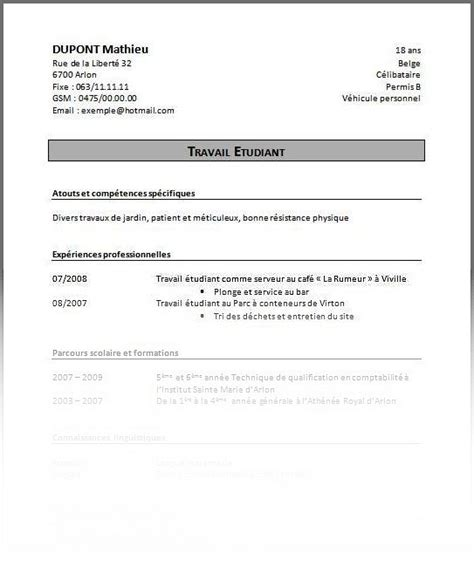 Créer Un Cv by Mod 232 Le De Cv 233 Tudiant Secondaire Sle Resume