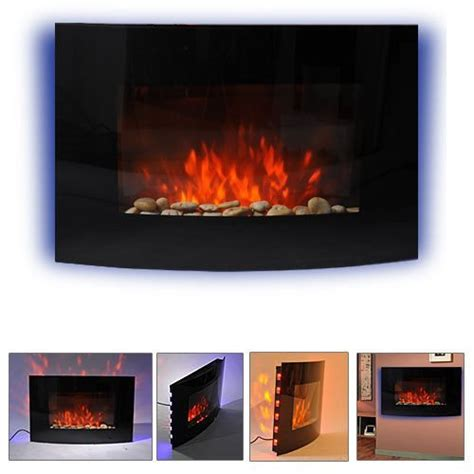 HOMCOM LARGE LED CURVED GLASS ELECTRIC WALL MOUNTED FIRE PLACE FIREPLACE 7 COLOUR SIDE LIGHTs