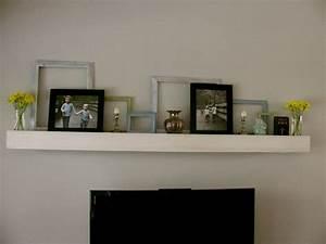 Shelf above tv on decor modern