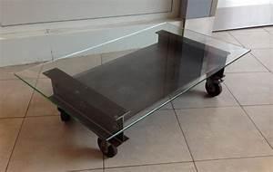 Table Basse Sur Roulette : table basse usine metal deco loft ~ Melissatoandfro.com Idées de Décoration
