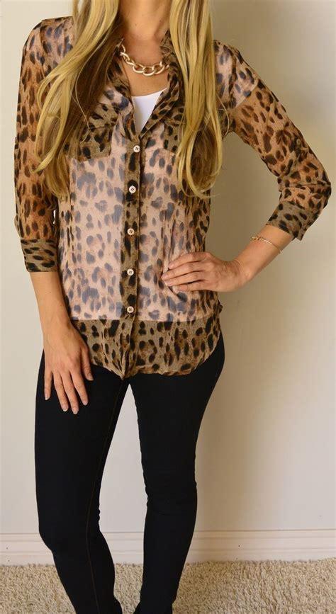 leopard print blouses leopard print sheer blouse foto gambar