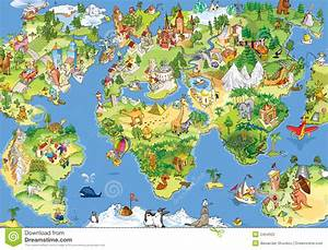 Great and funny world map stock illustration. Image of ...