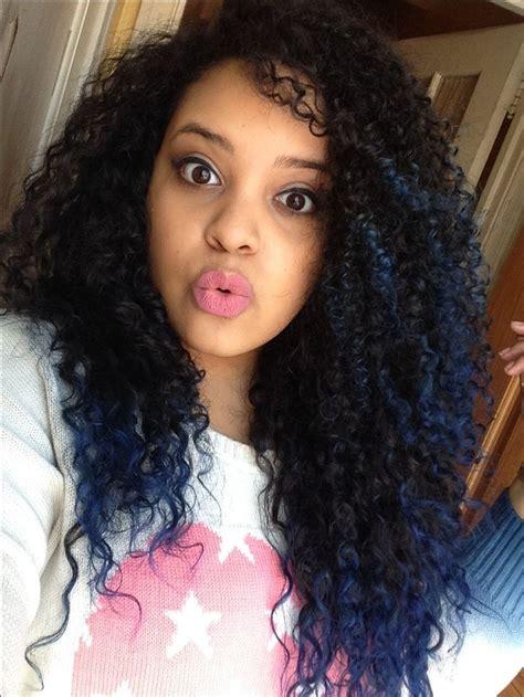 Blue Tips Natural Curly Hair Ombré Curly Hair