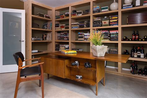 mid century desk home office modern with book bookcase bookshelves built in image by kenneth brown mid century modern desk home office modern with book