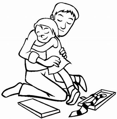 Coloring Dad Daddy Hug Pages Sheet Coloringsky