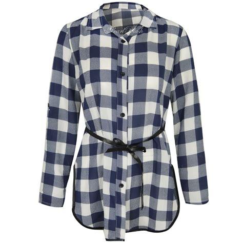 plaid blouse womens sleeve checked plaid shirt blouse