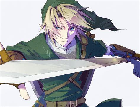 All Male Aqua Eyes Blonde Hair Gloves Hat Link Zelda