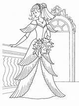 Coloring Wedding Dresses Princess Pages Sheet Print Dress Colouring Printable Cartoon Barbie sketch template