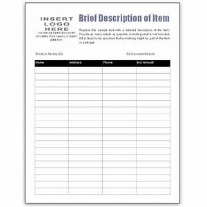 free bid sheet template collection downloads for ms publisher With bid sheets for silent auction template