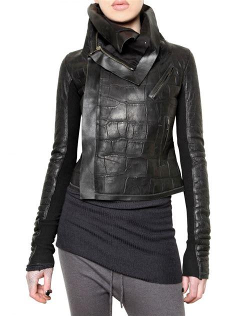 rick owens crocodile leather jacket  black lyst