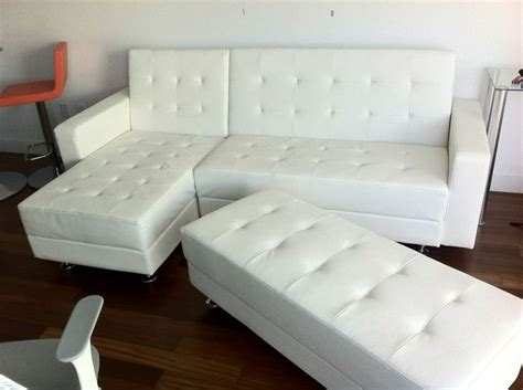 white leather modern sectional sofa sleeper with ottoman