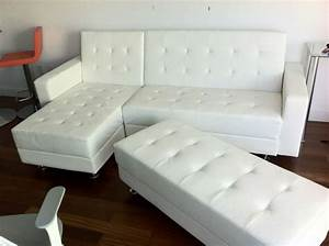 White leather modern sectional sofa sleeper with ottoman for White leather contemporary sectional sofa sleeper with an ottoman
