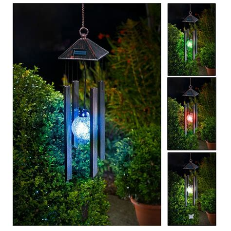 wind chimes with solar powered colour changing led light