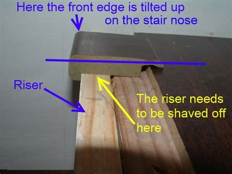 installing laminate on stairs with nosing here in this photo is how laminate stair nose is not level