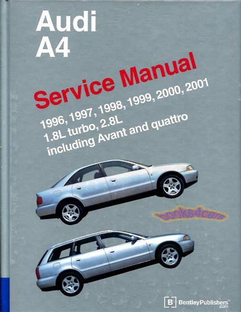 service repair manual free download 2001 audi s4 seat position control shop manual a4 service repair audi bentley book quattro vant 1 8 2 8l 1996 2001 ebay
