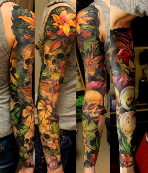 Many Flowers Sculls Tattoo Sleeve