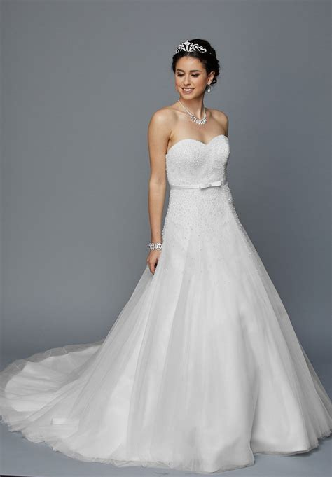 Embellished Bodice Strapless Wedding Gown Romantic Gowns