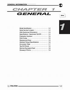 2004 Polaris Sportsman 700 Efi Service Manual