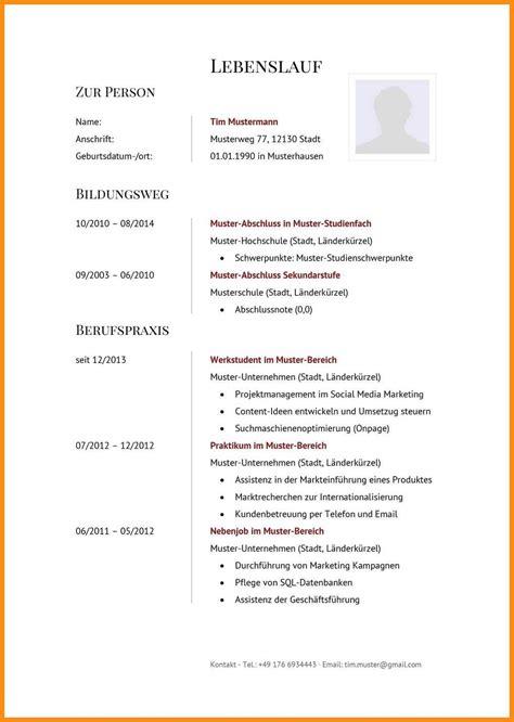 Cv Vorlage by Curriculum Vitae Vorlage
