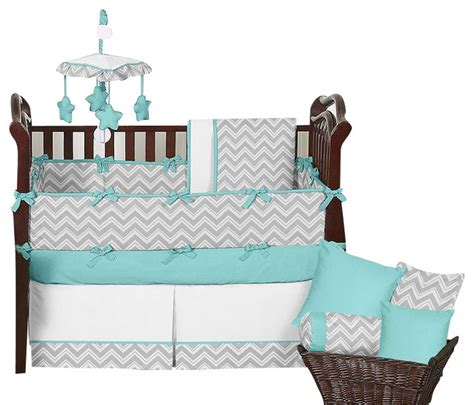 zig zag turquoise and gray 9 piece baby crib bedding set