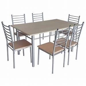 Table de cuisine salle a manger 6 chaises ella achat for Meuble salle À manger avec chaise coloràé pas cher