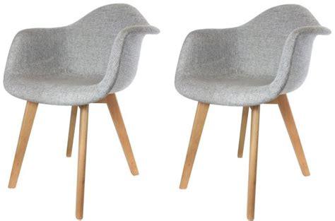 chaise scandinave avec accoudoir lot de 2 chaises scandinaves avec accoudoir tissu grises fjord chaise design pas cher