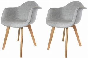 Chaise Fauteuil Avec Accoudoir : lot de 2 chaises scandinaves avec accoudoir tissu grises fjord chaise design pas cher ~ Melissatoandfro.com Idées de Décoration