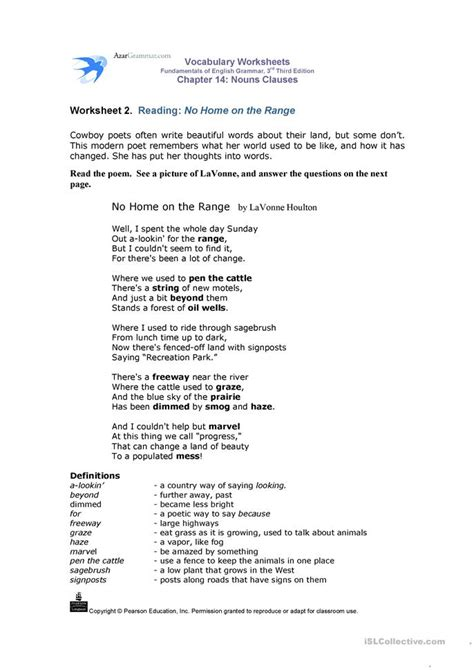 nouns clauses vocabulary worksheets worksheet free esl printable worksheets made by teachers