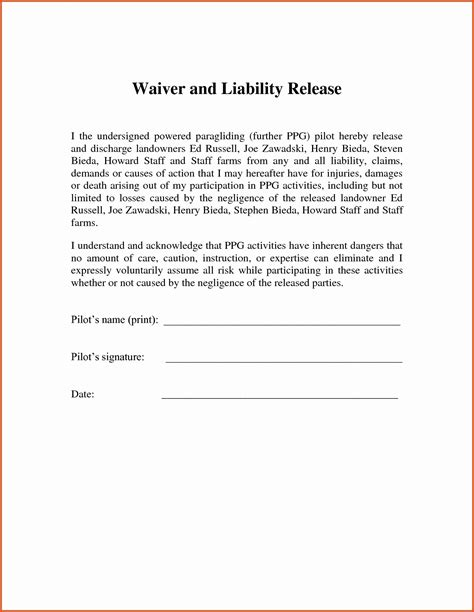 General Release Waiver Form For Co