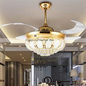 Inch crystal led ceiling fan with foldable blades gold